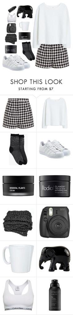 """Black/white"" by lixmxpxyne ❤ liked on Polyvore featuring Emma Cook, MANGO, Boohoo, adidas Originals, Koh Gen Do, Rodial, Fujifilm, Vietri, The Elephant Family and Calvin Klein"