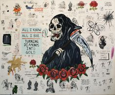 "Wes Lang, ""When I Look At The World"" 2012 mixed media on paper mounted on canvas 60x72 inches"
