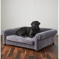 Enchanted Home Pet Ultra Plush Jackson Grey Velvet, Wood, Memory Foam Pet Sofa Xxxl Dog Bed, Dog Sofa Bed, Dog Couches, Cat Couch, Chaise Sofa, Cool Dog Beds, Bed For Dogs, Giant Dog Beds, Cool Dogs
