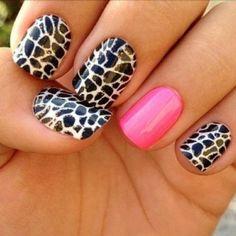 Black N White N Pink Nail Art'
