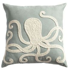 Embroidered Octopus Pillow, perfect for a beach theme