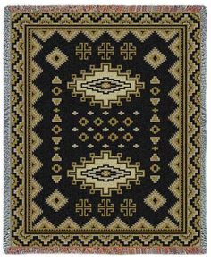 Southwest Sampler Black and Gold Blanket