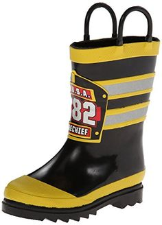 The Western Chief Kids' F.D.U.S.A Firechief Rain Boot is made from 100% natural rubber and features a striped rain boot in a firefighter motif. Grippy treaded outsoles will keep your toddler firm on his feet while the pull handles makes it easier for toddlers to take their boots off and put them on. These boots also feature a moisture-absorbent lining.