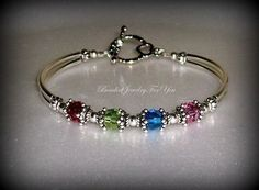 Birthstone Mother's Bracelet  Swarovski by beadedjewelryforyou, $30.99