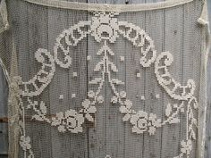 Vintage large French crochet filet curtain by HOPEFRENCHVINTAGE