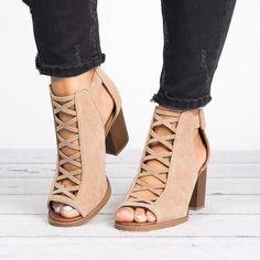 Peep Toe Shoes, Pumps Heels, Heeled Sandals, Women's Shoes, Thick Heels Pumps, Ankle Shoes, Shoes Style, Gladiator Sandals, Shoes Sneakers