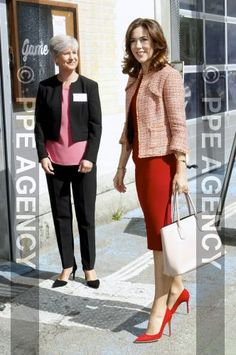 The Danish Crown Princess sported the bold outfit in Copenhagen on Thursday, where she gave a speech at a conference for social exclusion for the Mary Foundation. Princesa Mary, Crown Princess Mary, Bold Fashion, Royal Fashion, French President Wife, Mary Donaldson, Denmark Fashion, Style Royal, Princess Marie Of Denmark