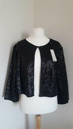Stunning Roman Original Sequin Black Jacket Size.22 Black Pattern, White Patterns, Roman Originals, The Originals, Rain Mac, Knit Shrug, Leopard Fashion, Sale Uk
