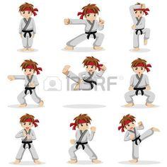 judo enfant: Une illustration de vecteur d'différentes poses de karate kid