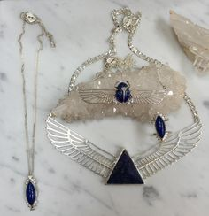 Love lapis lazuli? So do we. We buy our rocks by the kilo and carve them into shape for our contemporary collections #ZoeAndMorgan #lovethetrade #jewelry all of these pieces are available online link in bio