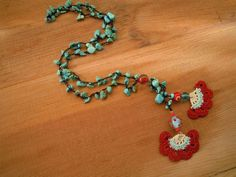 Your place to buy and sell all things handmade Red Turquoise, Crochet Flowers, Crochet Necklace, Buy And Sell, Cream, Beads, Pendant, Handmade, Stuff To Buy