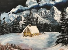Cabin In The Mountains Surrounded By Evergreen Trees Bob Ross Style Painting Acrylic on 1620 Canvas Bob Ross Paintings, Landscape Artwork, Evergreen Trees, Building Art, Fantasy Paintings, Mountain Landscape, Canvas Artwork, Stretched Canvas, Abstract