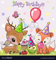 Cute Deer and Fox owls with balloon and bonnets. Birthday card with Cute Deer and Fox owls with balloon and bonnets royalty free illustration Birthday Brother Funny, Happy Birthday Wishes Sister, Happy Birthday Funny, Happy Birthday Images, Happy Birthday Greetings, Birthday Pictures, Funny Birthday Cards, Birthday Humorous, Birthday Sayings