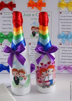 Купить Свадебное шампанское Love is... - разноцветный, свадебное шампанское, шампанское на свадьбу, шампанское свадебное