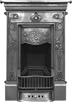 Crocus Cast Iron Art Nouveau Style Fireplace from Victorian Fireplace Suppliers UK - Reproduction Fireplaces, Mantels in Cast Iron and Wood Art Nouveau, Art Deco, Cast Iron Fireplace Bedroom, Fireplace Suites, Edwardian Fireplace, Edwardian House, Fireplace Surrounds, Fireplace Design, Fireplace Ideas