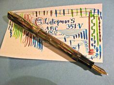Waterman 351-V Fountain Pen Flex 14K Gold Nib Canada Red Vein Green vtg flexible #Waterman