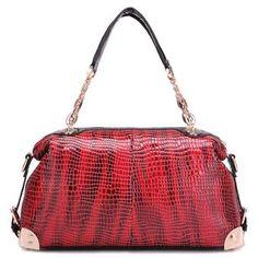 womens leather red handbag crossbody shoulder bag