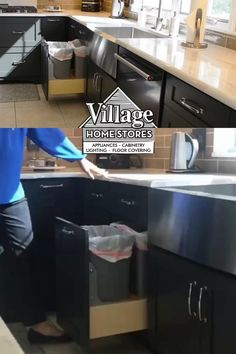 Looking to add useful kitchen tech to your design? Ask a kitchen designer at Village Home Stores about a tap-to-open servo waste basket cabinet.    |   villagehomestores.com Kitchen Cabinet Pulls, Kitchen Cabinets, Kitchen Storage Solutions, Kitchen Installation, Shades Blinds, At Home Store, Your Design, Countertops, Kitchen Design