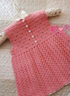 Cute peach crochet dress ♥LCK-MRS♥ with diagram. --- Вязание сарафана для девочки крючком