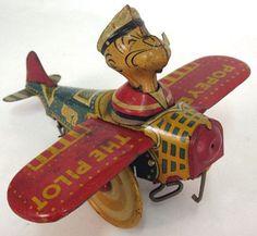 ein-bleistift-und-radiergummi:  'Popeye the Pilot' Vintage Tin Toy ca.1940's #antiquetoys