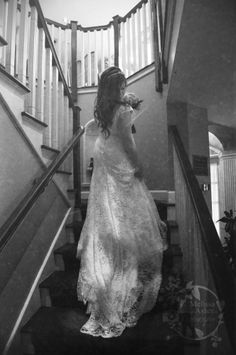 #wedding #dress #lace #stairs #beautiful https://www.facebook.com/MelissaAsherPhotography