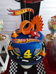 Nerf Birthday Party, Race Car Birthday, Cars Birthday Parties, 5th Birthday, Hot Wheels Cake, Hot Wheels Party, Mcqueen Cake, Hot Wheels Birthday, Monster Truck Party