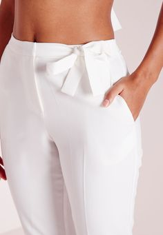Missguided - Tie Belt Crepe High Waist Pants White