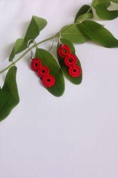 Crochet earrings fiber earrings crochet jewelry fiber by GuruMIme, $9.00