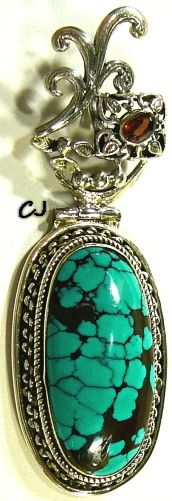 "Artisan Hand Design, Awesome Large Turquoise Pendant Jewelry. Sterling Silver, Hallmarked .925. Turquoise Cab Bezel Set Stone. Hinged top, sterling motif, facet bezel set oval stone. Large bale. Beautiful motif sterling silver setting. Pendant measures approx. 3-1/4"" long x 1-1/8"" widest... Excellent condition. www.etsy.com/shop/SylCameoJewelsStore"
