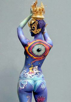 Body painting - ✯ www.pinterest.com/wholoves/Body-Art ✯ #BodyArt; Well at least she could keep an eye on your activities no matter what you are doing and how, ;-)