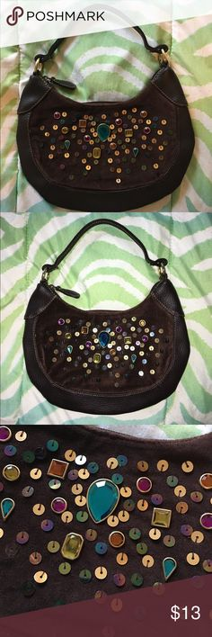 Jeweled Shoulder Bag Small delicate shoulder bag NWOT never used! Suede and jewels in front and faux leather in back. Bags Shoulder Bags