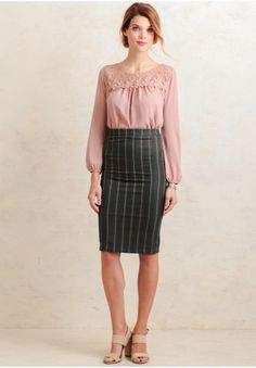 City Life Striped Skirt In Gray