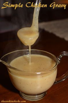 simple chicken gravy: REVIEW---super easy to make.  i cut the salt in half.  i was about a tablespoon short of chicken broth so i added 1T whole milk.  SO GOOD!