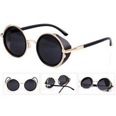 Unisex Weinlese Sonnenbrille UV400 Steampunk Runder Spiegel Objektiv Glas