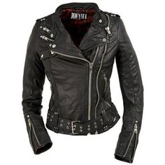 silver studded black leather biker jacket with belt and zippers