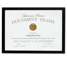 Amazon.com: Lawrence Frames Black Wood Certificate Picture Frame, Gallery Collection, 8-1/2 by 11-Inch: Home & Kitchen
