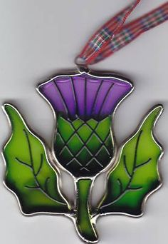 """""""Scottish Thistle Stained Glass Christmas Tree Ornament"""""""