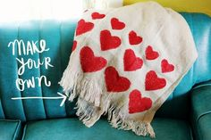 Cozy Heart Blanket   41 Heart-Shaped DIYs To Actually Get You Excited For Valentine's Day