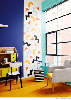 Bondville: Memphis style - the Eighties shape confetti interiors trend Recreate with chalkpaint Memphis Design, Memphis Art, Memphis Milano, Memphis Tennessee, Apartment Inspiration, Interior Inspiration, Inspiration Design, 80s Design, Deco Design