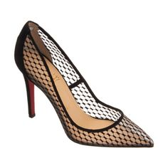 Christian Louboutin Pigaresille. Suede and mesh pointed toe pump featuring a stitched lace motif.
