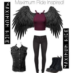Maximum Ride outfit // Girl version of fang Maximum Ride Manga, Space Warriors, Girl Outfits, Casual Outfits, Percy Jackson, Costume Design, Harley Quinn, Teen Fashion, Shirt Outfit
