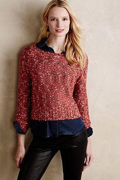 Marled Cropped Pullover