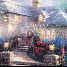 Made everything look as if light was shining on it Kinkade Paintings, Oil Paintings, Thomas Kinkade Art, Thomas Kincaid, Fairytale House, Art Thomas, Picture Places, Great Artists, Famous Artists