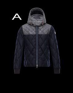 Moncler Labastide Men Wool Flannel Lozenge Stitching Jacket Steel Gray Navy FOr Sale