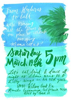 Beach Birthday Party Ocean Palm Tree Couture Handmade Stationery by: Pigment & Parchment
