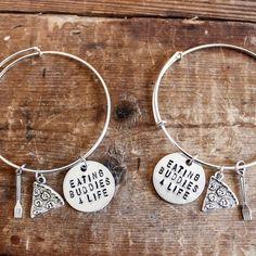 Pair of Eating Buddies 4 Life Bangle Bracelets