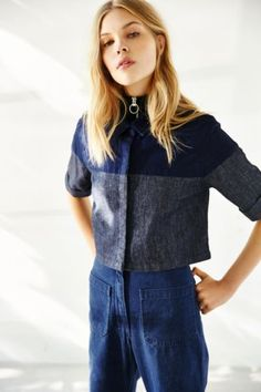Courtshop Kate Cropped Button-Down Shirt - Urban Outfitters