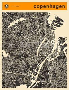 """""""COPENHAGEN MAP"""" Digital Art von Jazzberry  Blue jetzt als Poster, Kunstdruck oder Grußkarte kaufen.."""