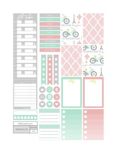 Free Summer in Paris Planner Stickers - Fit Life Creative