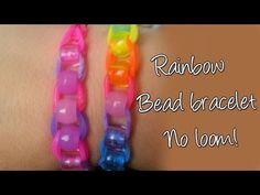 ▶ Diy Beaded Raimbow loom bracelet without loom, Easy Cute Bracelet - YouTube